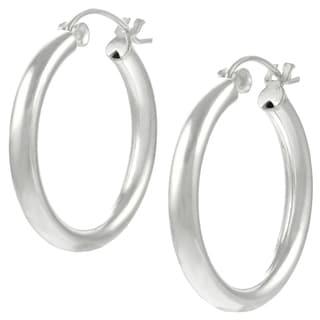 Journee Collection  Sterling Silver Hoop Earrings