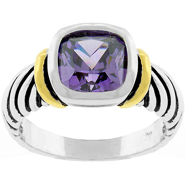 Kate Bissett Purple Cubic Zirconia Cable Ring