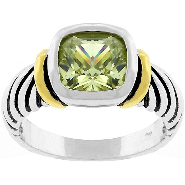 Kate Bissett Green Cubic Zirconia Cable Ring