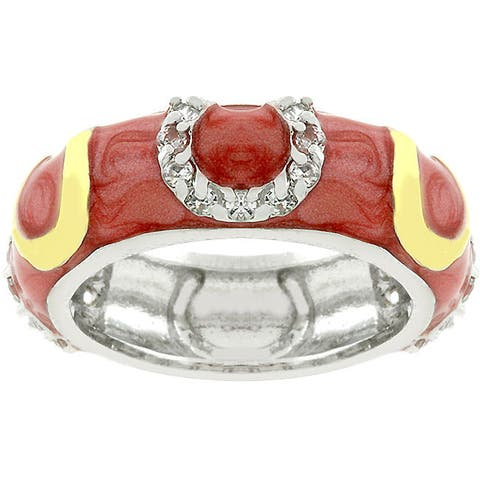 Kate Bissett Pink Enamel Horseshoe Ring