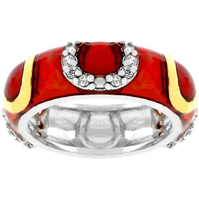 Kate Bissett Red Horseshoe Eternity Enamel and White CZ Ring