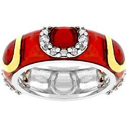 Kate Bissett Red Horseshoe Eternity Enamel and White CZ Ring
