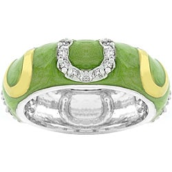 Kate Bissett Light Green Enamel Horseshoe Ring