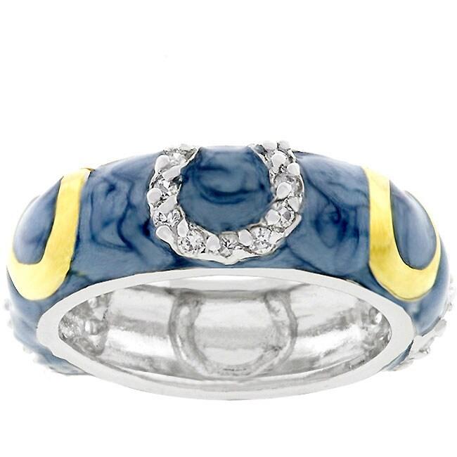 Kate Bissett Light Blue Horseshoe Enamel Ring