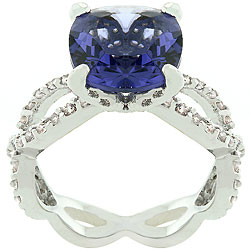 Kate Bissett Purple and White CZ 'Uptown Classic' Ring