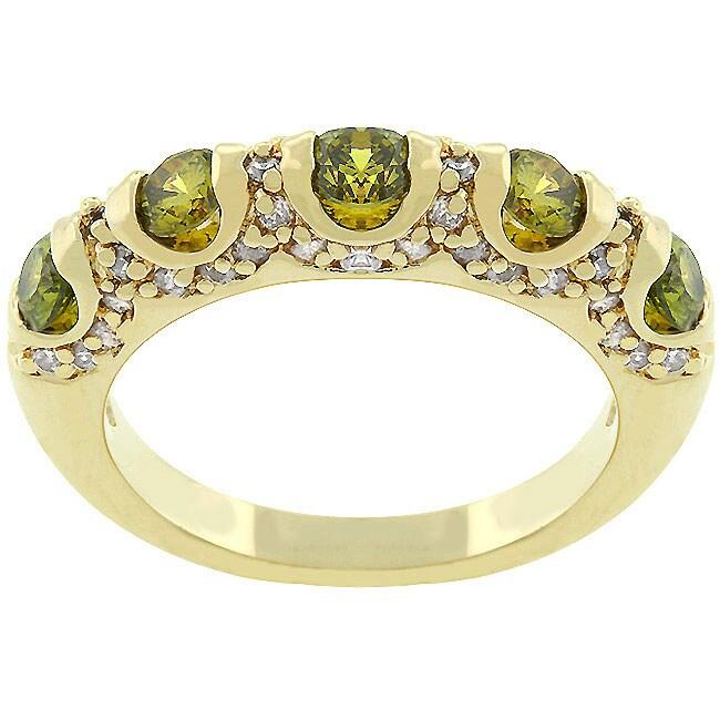 Kate Bissett 14k Gold Bonded 'Olive Fusion' CZ Fashion Ring
