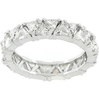 Kate Bissett Silvertone Trillion Fashionista CZ Ring (5 options available)