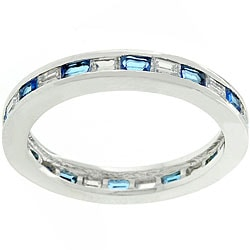 Kate Bissett Silvertone Stackable Blue and Clear CZ Ring