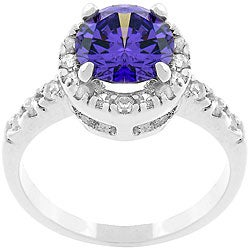 Kate Bissett Silvertone Deep Purple and White CZ Crown Ring