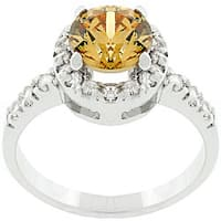 Kate Bissett Silvertone Champagne Cubic Zirconia Crown Ring