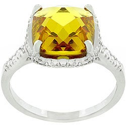 Kate Bissett White Gold Rhodium Bonded Metal Canary CZ Ring