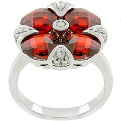 Kate Bissett Silvertone 'Garnet Artisan' Red CZ Flower Ring