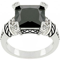 Kate Bissett White Goldplated Metal Jet Black CZ Ring