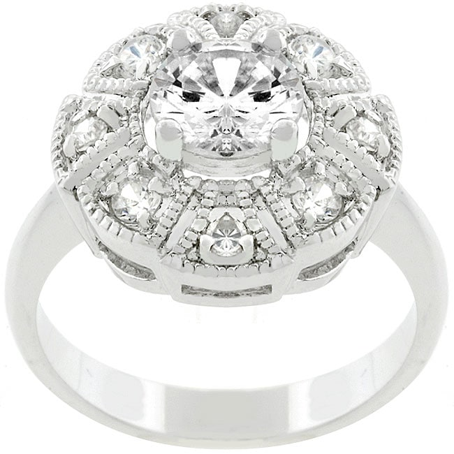 Kate Bissett White Gold Bonded Metal Queen Mary CZ Ring