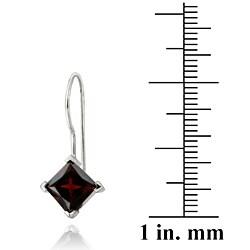 Glitzy Rocks Sterling Silver Garnet Diamond-shaped Drop Earrings - Thumbnail 2