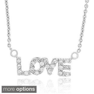 Icz Stonez Sterling Silver Cubic Zirconia 'Love' Necklace
