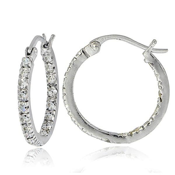 Icz Stonez Sterling Silver Cubic Zirconia Inside Out Hoop Earrings