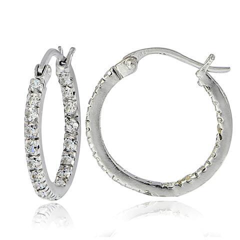 Icz Stonez Sterling Silver Cubic Zirconia Inside-out Hoop Earrings