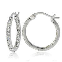 Icz Stonez Sterling Silver Cubic Zirconia Inside-out Hoop Earrings