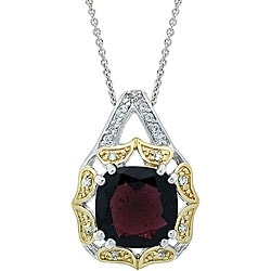 Glitzy Rocks 18k Gold/ Sterling Silver Garnet and CZ Necklace