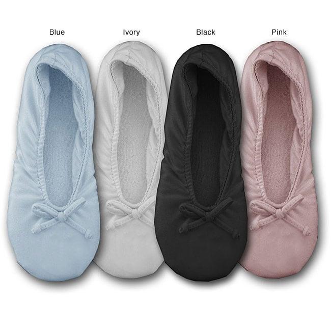 Soft Ones Womens Stretch Satin Ballerina Slippers