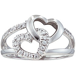 Unending Love Sterling Silver 1/5ct TDW Diamond Double Heart Ring