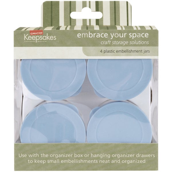 Four Large High-quality Clear Plastic/Blue Snap Storage Jars