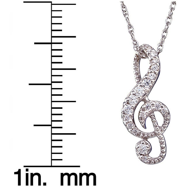 Unending Love Sterling Silver 1/5ct TDW Diamond Music Note Necklace