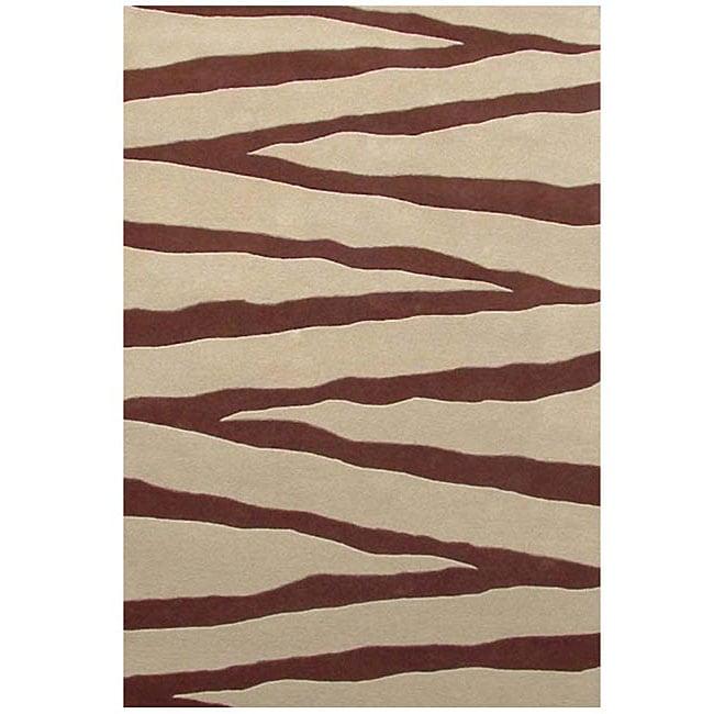 Shop Hand-tufted Zebra Beige Line Wool Rug