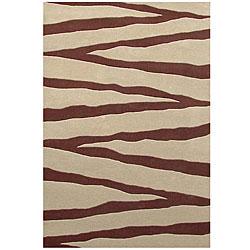 Hand-tufted Zebra Beige Line Wool Rug - 5' x 8' - Thumbnail 0