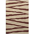 Hand-tufted Zebra Beige Line Wool Rug - 5' x 8'