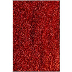 Hand-woven Red Shaggy Polyester Rug (5' x 8') - Thumbnail 0