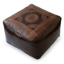 Moon Medallion Unique Decorator Accent Embossed Polished Soft Brown Leather with Whip Stitch Edge Pouf Cube Ottoman (Brazil)