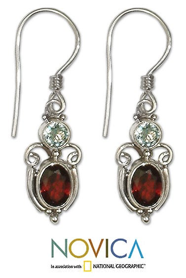 Handmade Sterling Silver 'Fire and Ice' Garnet Topaz Earrings (Indonesia) - Thumbnail 0