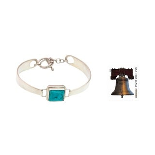 Handmade Rectangular Veined Blue Green Turquoise Gemstone Centers Toggle Closure Modern Womens Bangle Bracelet (Indonesia)