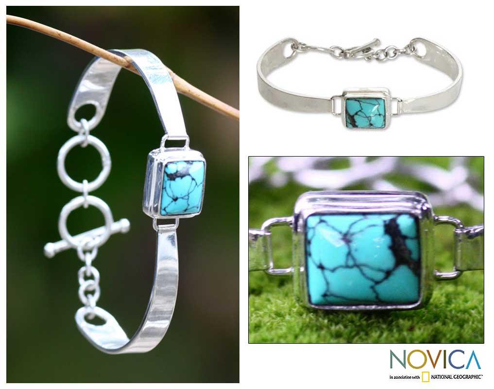 Soul Mirror Rectangular Veined Blue Green Turquoise Gemstone Centers Toggle Closure Modern Womens Bangle Bracelet (Indonesia)