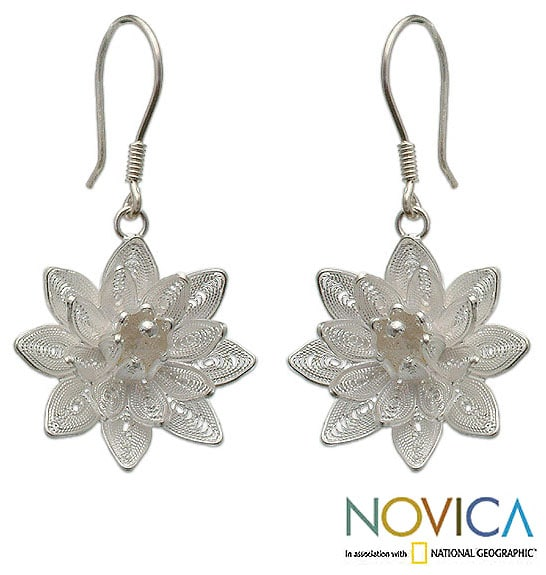 Sterling Silver 'Gardenia' Earrings (Indonesia)