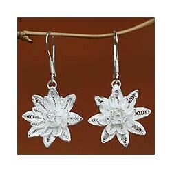 Sterling Silver 'Gardenia' Earrings (Indonesia)