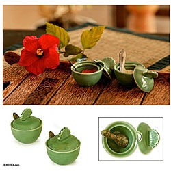 Ceramic 'Spice of Life' Spice Serving Set (Indonesia) - Thumbnail 0
