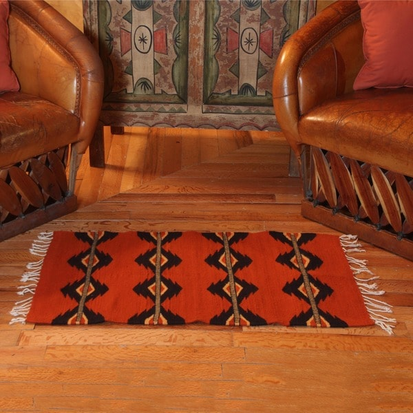 Handmade Mexican 'Red Lightning' Zapotec Wool Rug (2' x 3')
