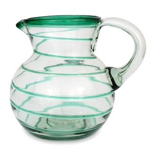 Handmade 'Emerald Spiral' Glass Pitcher (Mexico)