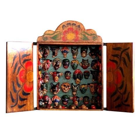 Wood 'Mask Collection' Retablo - Brown