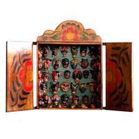 Handmade Wood 'Mask Collection' Retablo (Peru) - Brown