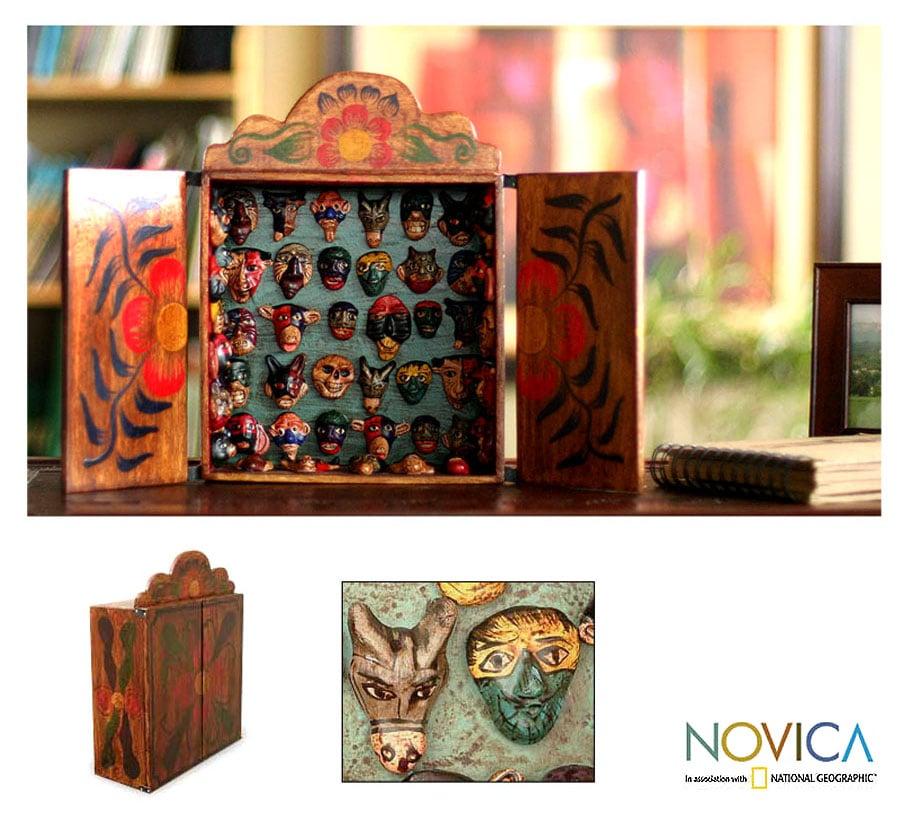 Wood 'Mask Collection' Retablo (Peru)