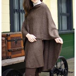 Handmade Alpaca Wool Brown Tweed Wrap (Peru)