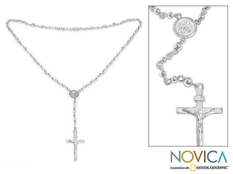Sterling Silver 'Celestial Peace' Rosary Necklace (Peru)