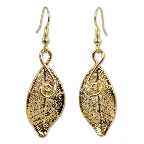 Handmade Gold plated Forest Duet Natural Leaf Earrings (Thailand)