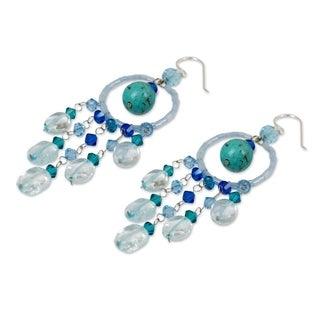 Handmade Topaz 'Azure Dreamcatcher' Earrings (Thailand)