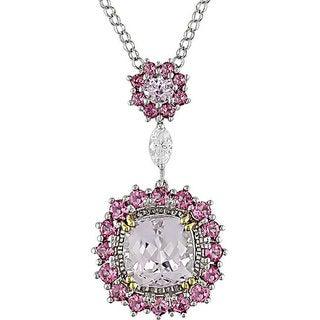 Miadora Signature Collection 18k Gold Multi-gemstone 1/5ct TDW Diamond Necklace
