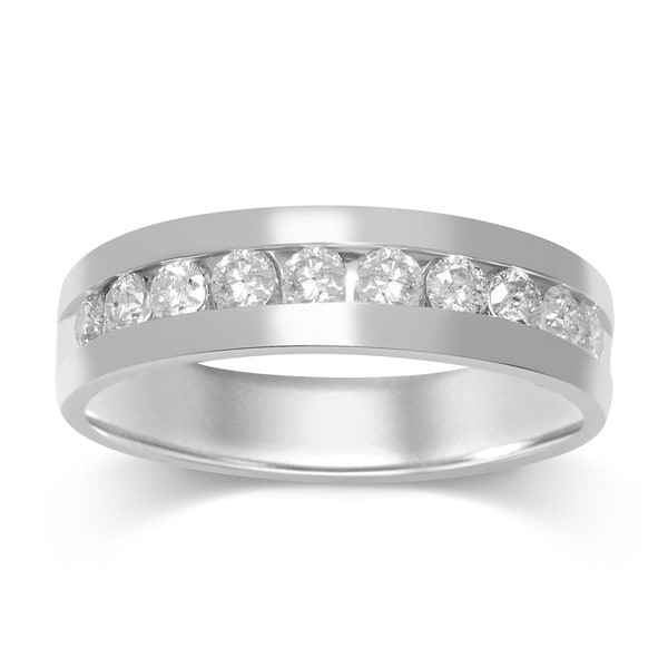 Unending Love Men's 14k White Gold 1ct TDW Diamond Wedding Band